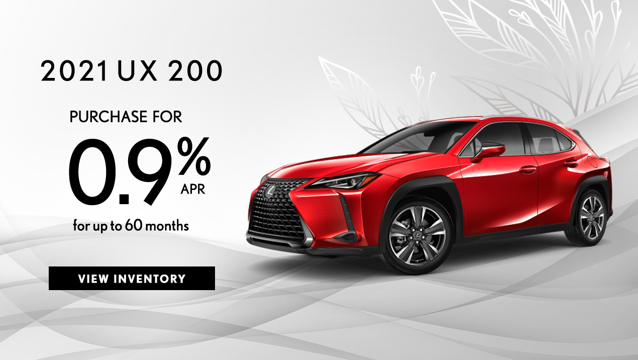 Take advantage of 0.9% APR for up to 60 months on a new 2021 UX 200.
